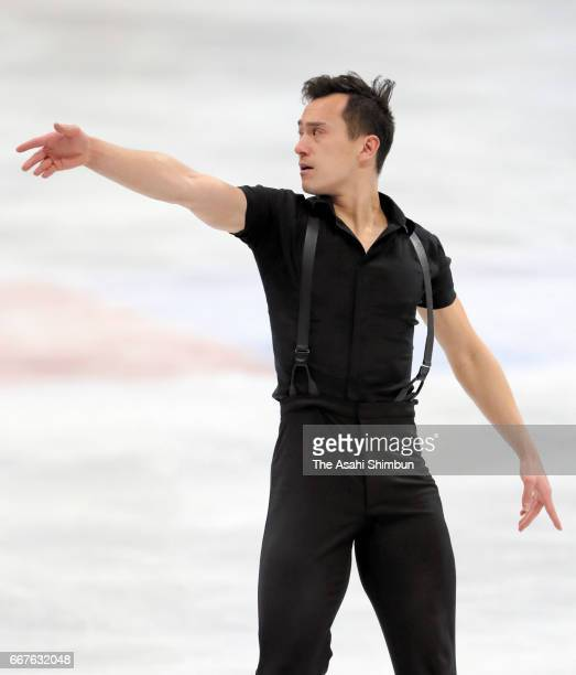 Patrick Chan of Canada competes in the Men's Singles Short Program during day two of the World Figure Skating Championships at Hartwall Arena on...