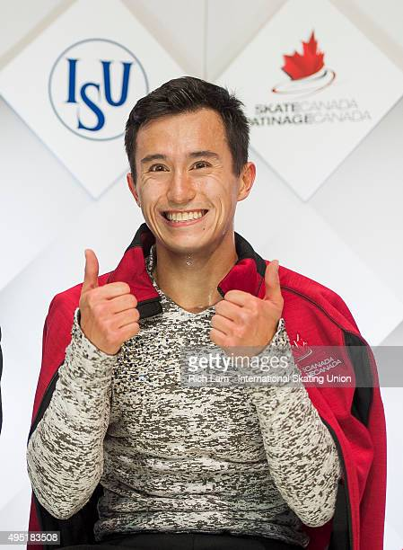 Patrick Chan of Canada gives a thumbs up after seeing his score in the Men Free Skate on day two of Skate Canada International ISU Grand Prix of...