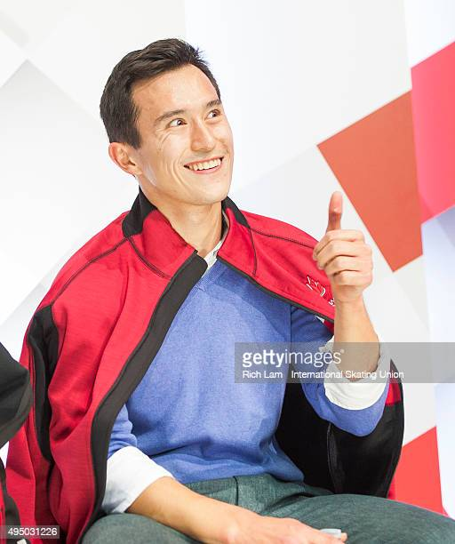 Patrick Chan of Canada gives the thumbs up to fans after skating the Men's Short Program on day one of Skate Canada International ISU Grand Prix of...
