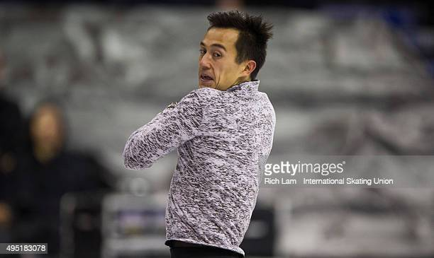 Patrick Chan of Canada jumps during the Men Free Skate on day two of Skate Canada International ISU Grand Prix of Figure Skating October 2015 at...