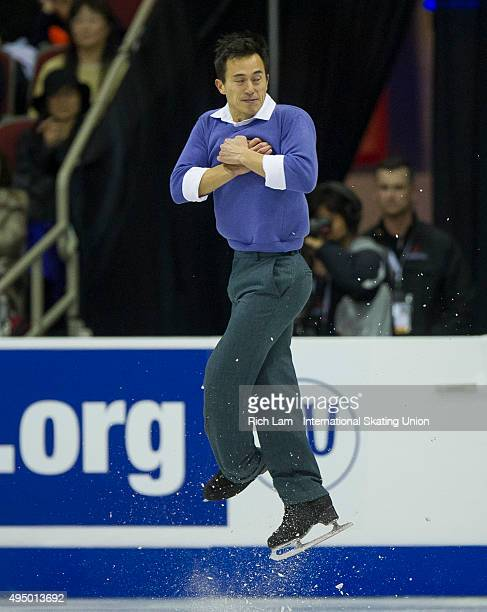 Patrick Chan of Canada jumps during the Men's Short Program on day one of Skate Canada International ISU Grand Prix of Figure Skating on October 30...