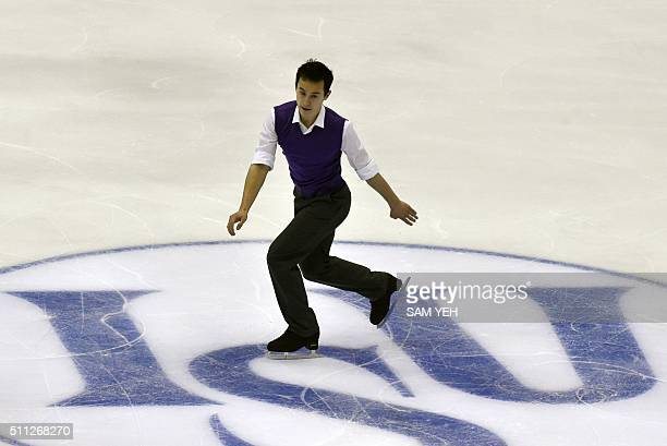 Patrick Chan of Canada performs at the Men Short Program during the ISU Four Continents Figure Skating Championships in Taipei on February 19 2016 A...