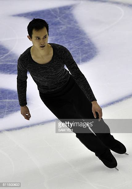 Patrick Chan of Canada performs at the Men's Free Skating during the ISU Four Continents Figure Skating Championships in Taipei on February 21 2016 A...