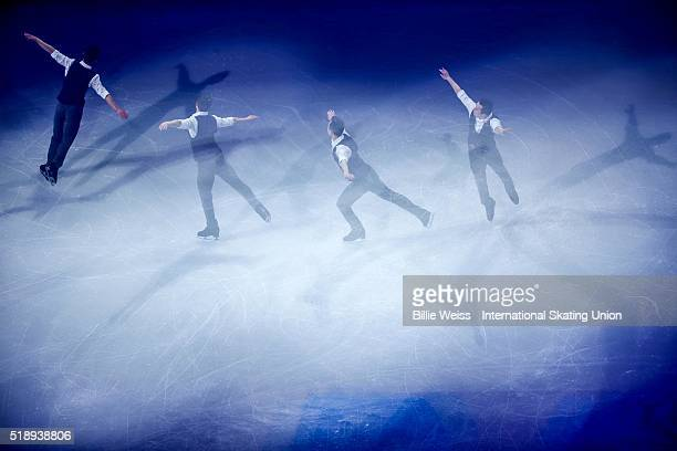 Patrick Chan of Canada performs during the exhibition of champions during Day 7 of the ISU World Figure Skating Championships 2016 at TD Garden on...