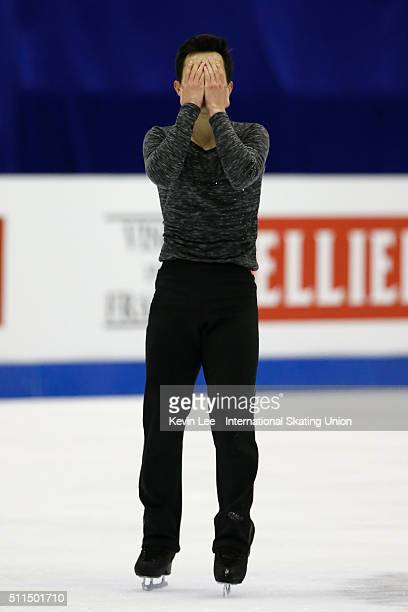 Patrick Chan of Canada performs during the Men Free Skating on day four of the ISU Four Continents Figure Skating Championships 2016 at Taipei Arena...