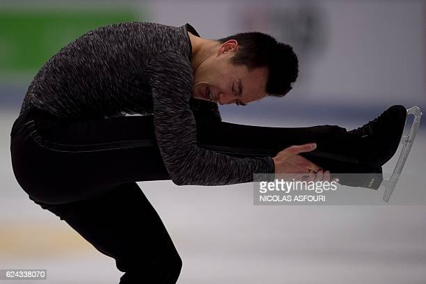 Patrick Chan of Canada performs during the men's free skating at the Ice Dance short dance at the Cup of China ISU Grand Prix of Figure Skating in...
