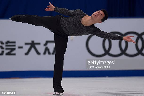 Patrick Chan of Canada performs during the men's free skating at the Ice Dance short program at the Cup of China ISU Grand Prix of Figure Skating in...