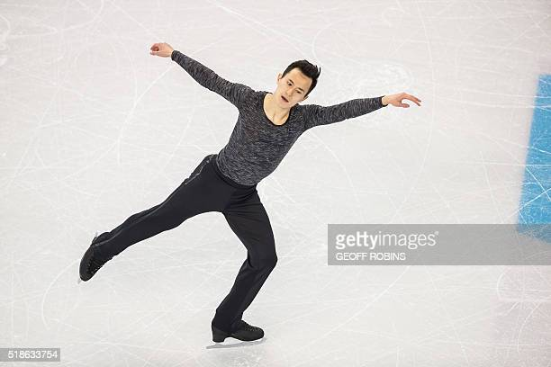 Patrick Chan of Canada performs during the Men's Free Skating Program at the ISU World Figure Skating Championships at TD Garden in Boston...