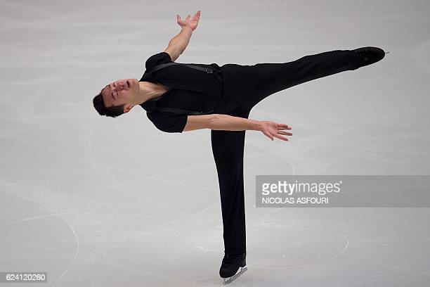 Patrick Chan of Canada performs during the Men's short program the Ice Dance short dance at the Cup of China ISU Grand Prix of Figure Skating in...