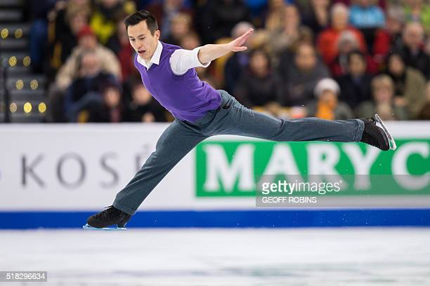 Patrick Chan of Canada performs his short program in the Men's Competition at the ISU World Figure Skating Championships at TD Garden in Boston...