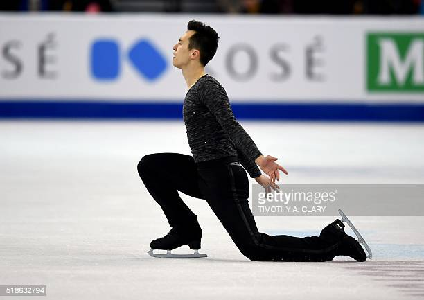 Patrick Chan of Canada performs in the Men's Free Skating Program at the ISU World Figure Skating Championships at TD Garden in Boston Massachusetts...