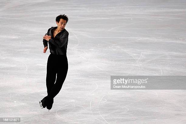 Patrick Chan of Canada performs in the Mens Short Program during day one of Trophee Eric Bompard ISU Grand Prix of Figure Skating 2013/2014 at the...