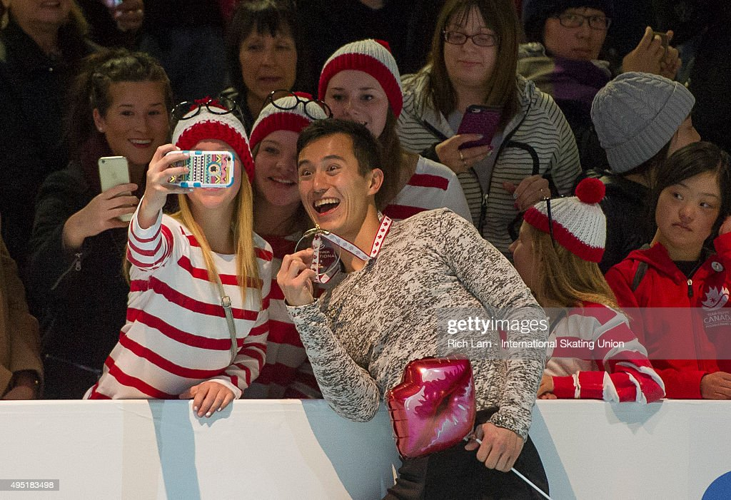 Patrick Chan of Canada poses for a selfie with fans after winning the Men's competition on day two of Skate Canada International ISU Grand Prix of Figure Skating, October, 31, 2015 at ENMAX Centre in Lethbridge, Alberta, Canada.