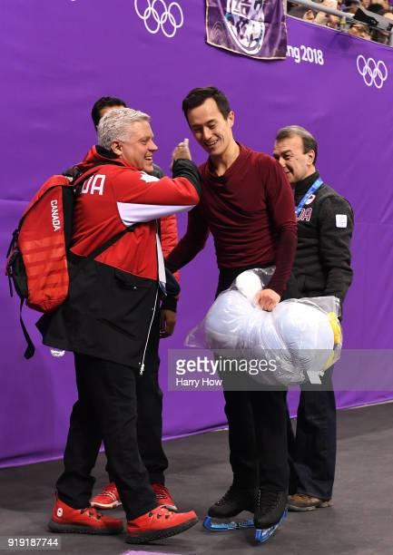 Patrick Chan of Canada reacts after competing during the Men's Single Free Program on day eight of the PyeongChang 2018 Winter Olympic Games at...
