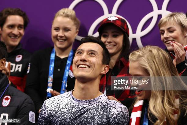 Patrick Chan of Canada reacts after competing in the Figure Skating Team Event Men's Single Skating Short Program during the PyeongChang 2018 Winter...
