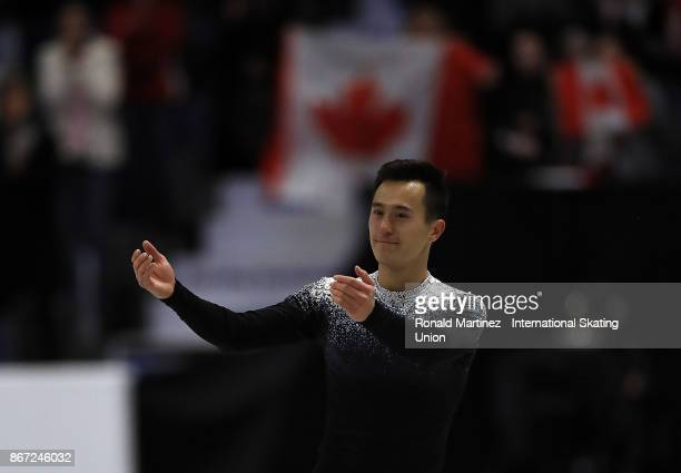 Patrick Chan of Canada reacts after performing in the men short program during the ISU Grand Prix of Figure Skating at Brandt Centre on October 27...