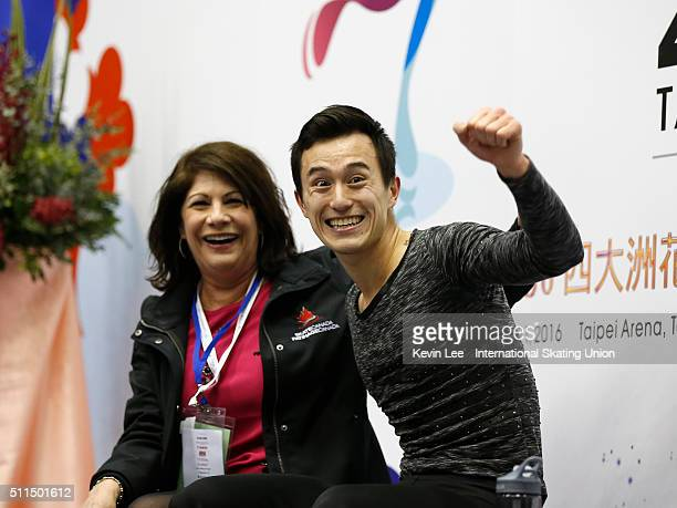 Patrick Chan of Canada reacts after winning the Men's Figure Skating on day four of the ISU Four Continents Figure Skating Championships 2016 at...