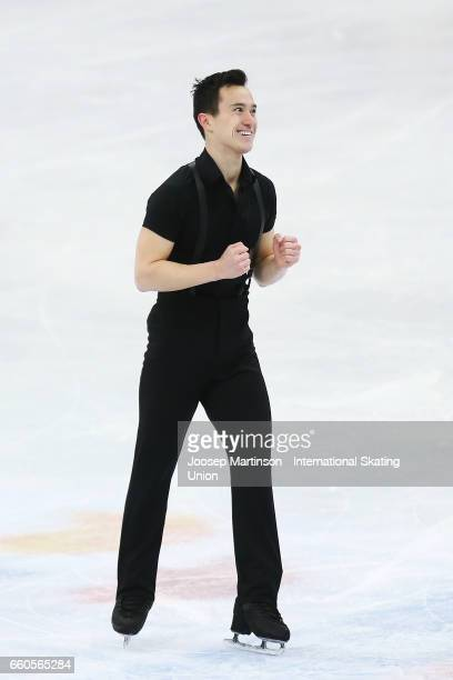 Patrick Chan of Canada reacts in the Men's Short Program during day two of the World Figure Skating Championships at Hartwall Arena on March 30 2017...