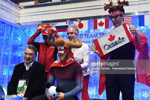 Patrick Chan of Canada reacts with his team mates at the kiss and cry after the Men free skating during the 2nd day of the ISU World Team Trophy 2017...