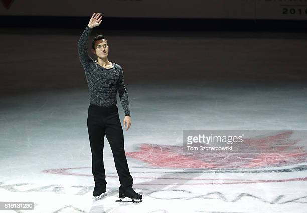 Patrick Chan of Canada salutes the crowd after winning a gold medal in the Men's Singles Free Program during day two of the 2016 Skate Canada...