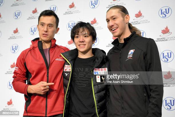 Patrick Chan of Canada Shoma Uno of Japan and Jason Brown of United States attend a press conferenec after competing in the Men's Singles Short...