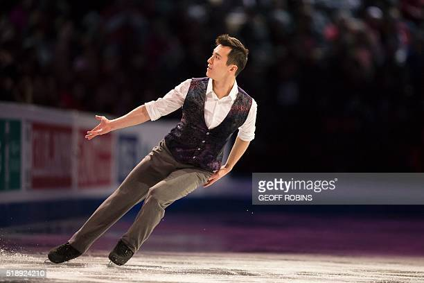 Patrick Chan of Canada skates during the Exhibition of Champions program at the ISU World Figure Skating Championships at TD Garden in Boston...