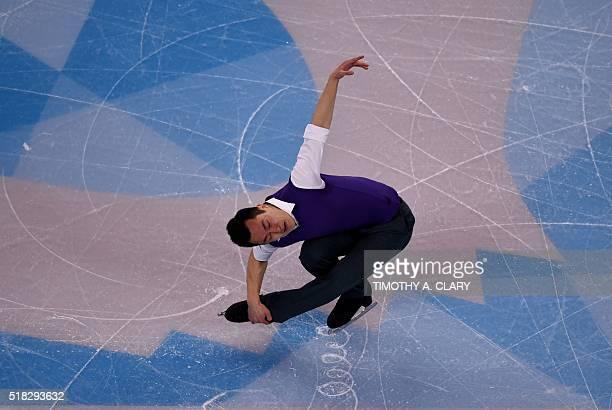 Patrick Chan of Canada skates during the Mens Short Program at the ISU World Figure Skating Championships at TD Garden in Boston Massachusetts March...