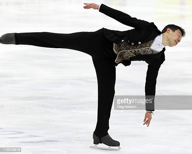 Patrick Chan of Canada skates in the Men's Free Skating during day five of the 2011 World Figure Skating Championships at Megasport Ice Rink on April...