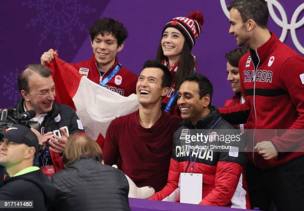 Patrick Chan of Canada smiles at the kiss and cry after competing in the Figure Skating Team Event Men's Single Free Skating on day three of the...