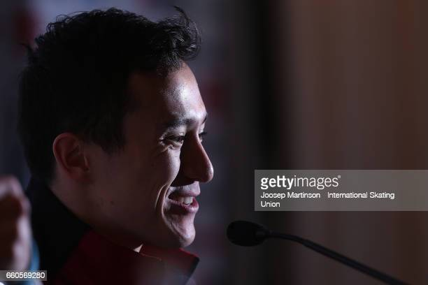 Patrick Chan of Canada speaks to the media in the Men's Short Program press conference during day two of the World Figure Skating Championships at...