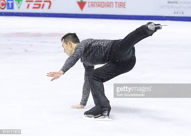 Patrick Chan of Canada stumbles as he lands in the Men's Singles Free Program during day two of the 2016 Skate Canada International at Hershey Centre...