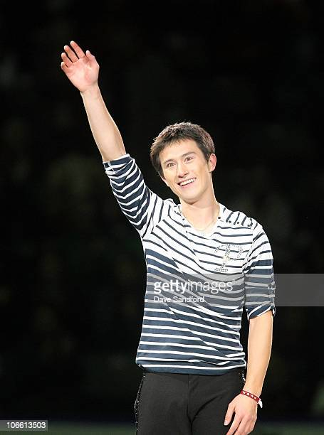 Patrick Chan of Canada waves to the crowd after skating in the Exhibition Gala during 2010 Skate Canada International at the KRock Centre October 31...
