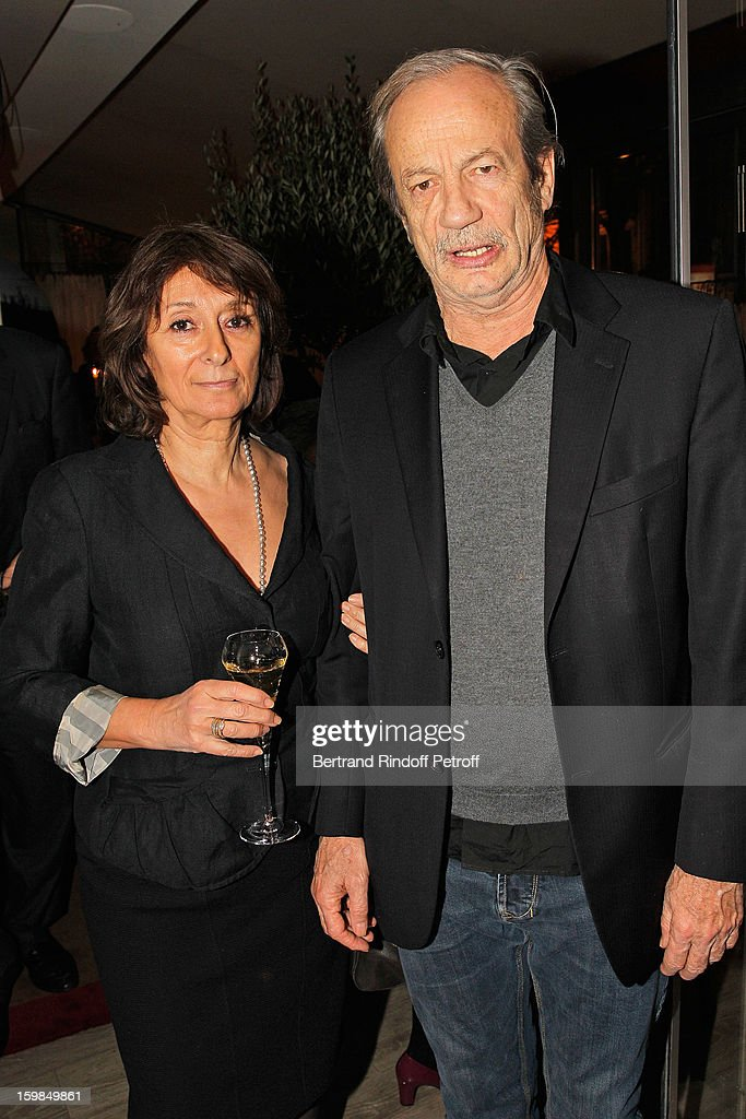 Patrick Chesnais (R) and his companion Josiane Stoleru attend 'La Petite Maison De Nicole' Inauguration Cocktail at Hotel Fouquet's Barriere on January 21, 2013 in Paris, France.