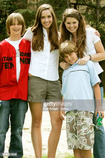 """Image has been digitally retouched.) Patrick, Christina, Christopher and Katherine Schwarzenegger attend the 'The Benchwarmers""""nStars vs. Youth..."""
