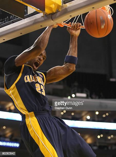 Patrick Christopher of the California Golden Bears dunks over the defense of the Washington Huskies during the 2008 Pacific Life Pac10 Men's...