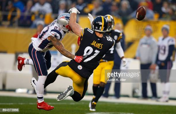 Patrick Chung of the New England Patriots breaks up a pass intended for Jesse James of the Pittsburgh Steelers in the first quarter during the game...