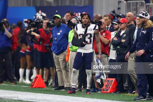Patrick Chung of the New England Patriots looks on from the sideline after sustaining an injury against the Los Angeles Rams during Super Bowl LIII...