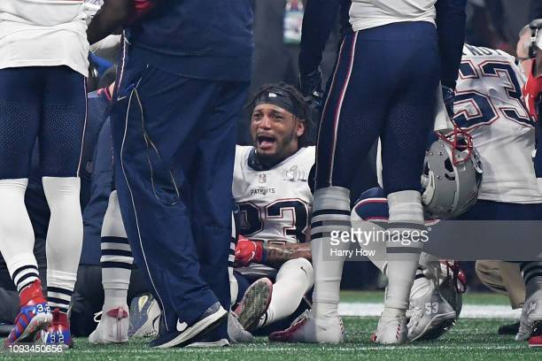 Patrick Chung of the New England Patriots reacts after being injured in the third quarter during Super Bowl LIII against the Los Angeles Rams at...