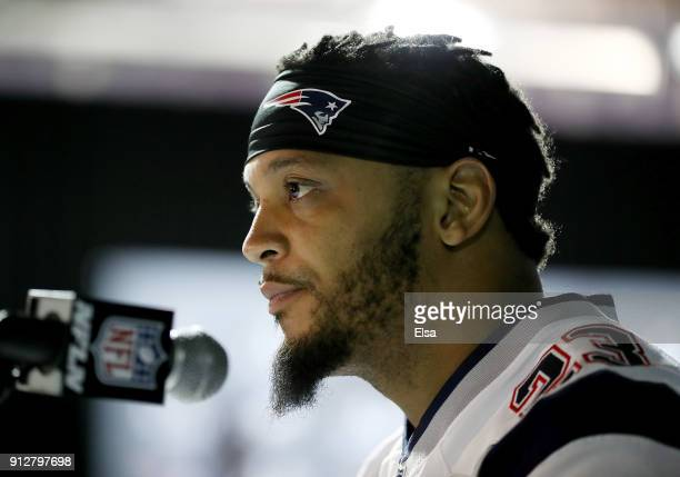 Patrick Chung of the New England Patriots speaks to the press during the New England Patriots Media Availability for Super Bowl LII at the Mall of...