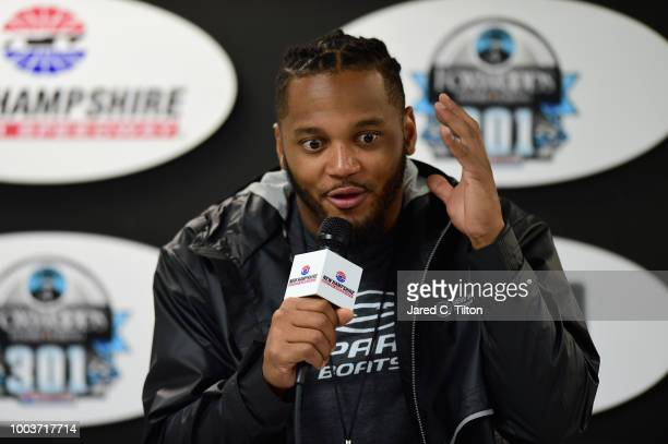 Patrick Chung of the New England Patriots speaks with the media during a press conference prior to the Monster Energy NASCAR Cup Series Foxwoods...