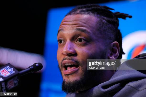 Patrick Chung of the New England Patriots talks to the media during Super Bowl LIII Opening Night at State Farm Arena on January 28 2019 in Atlanta...