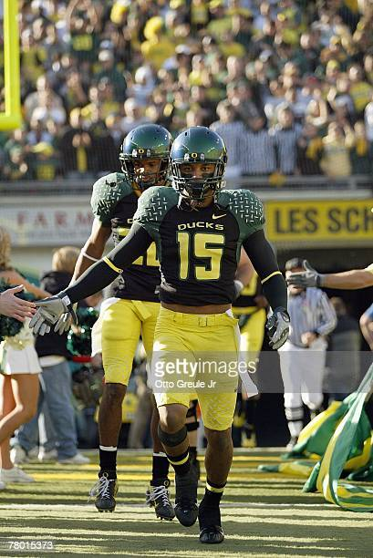 Patrick Chung of the Oregon Ducks enters the field before the game against the Arizona State Sun Devils at Autzen Stadium on November 3 2007 in...