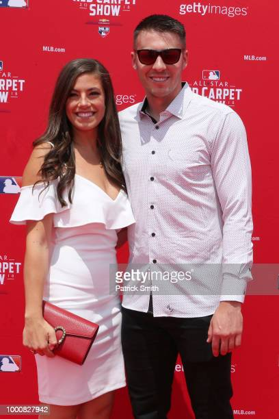 Patrick Corbin of the Arizona Diamondbacks and the National League and guest attend the 89th MLB AllStar Game presented by MasterCard red carpet at...
