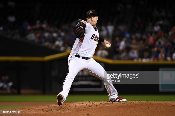 Patrick Corbin of the Arizona Diamondbacks delivers a first inning pitch against the Chicago Cubs at Chase Field on September 17 2018 in Phoenix...