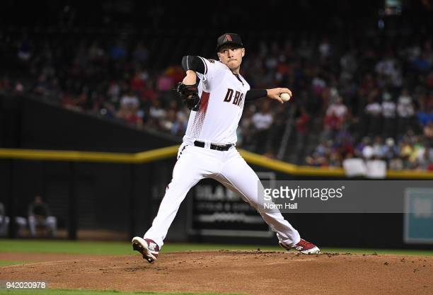 Patrick Corbin of the Arizona Diamondbacks delivers a first inning pitch against the Los Angeles Dodgers at Chase Field on April 4 2018 in Phoenix...