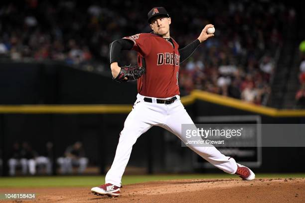 Patrick Corbin of the Arizona Diamondbacks delivers a pitch during the first inning of the MLB game against the San Diego Padres at Chase Field on...