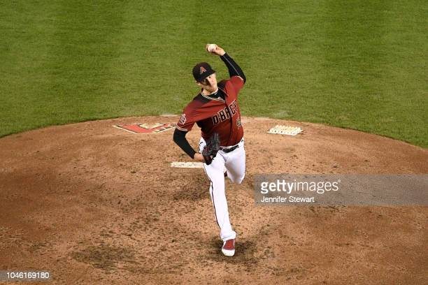 Patrick Corbin of the Arizona Diamondbacks delivers a pitch during the fourth inning of the MLB game against the San Diego Padres at Chase Field on...
