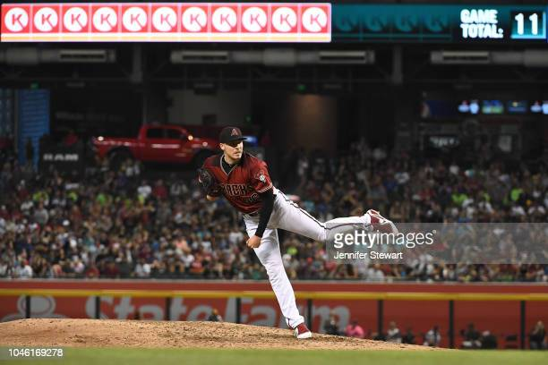 Patrick Corbin of the Arizona Diamondbacks delivers a pitch during the sixth inning of the MLB game against the San Diego Padres at Chase Field on...