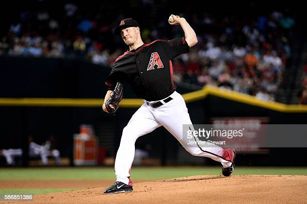 Patrick Corbin of the Arizona Diamondbacks delivers a pitch during the first inning against the Milwaukee Brewers at Chase Field on August 6 2016 in...