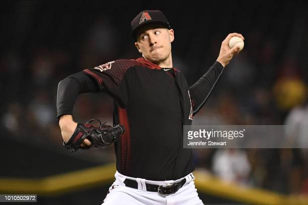Patrick Corbin of the Arizona Diamondbacks delivers a pitch in the first inning of the MLB game against the San Francisco Giants at Chase Field on...